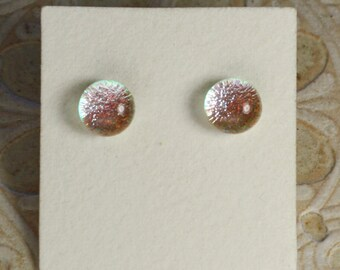 Dichroic Glass Earrings Silver Red  DGE-962