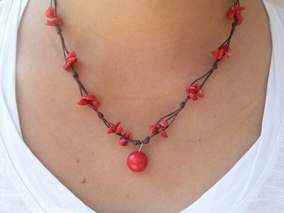Coral Gemstone Beaded Wax Cotton Pendant Choker Summer NECKLACE Thai Jewelry