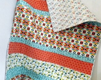 Baby Quilt Aztec Organic Boy Girl Blue Red Teal Arrows