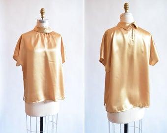 Vintage 1980s METALLIC gold blouse