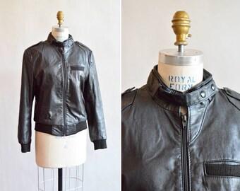 Vintage 1980s LEATHER bomber jacket