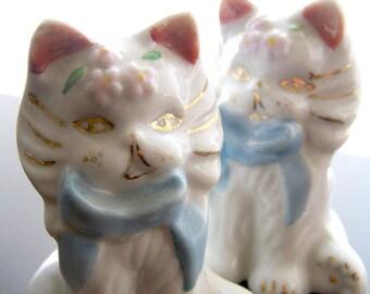 Two Vintage Japan Ornate White Cat Figurines Decorative Gilt Gold Trim