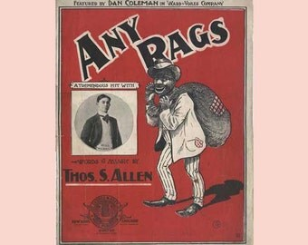 1902 Victorian Sheet Music Black Americana - Any Rags