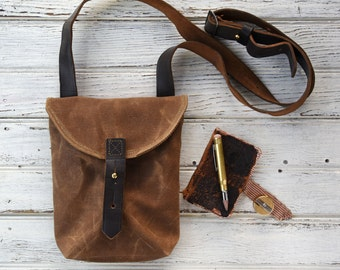Waxed Canvas Small Hunter Satchel in Spice, Waxed Canvas Crossbody Bag, Waxed Canvas Bag, Waxed Canvas Purse, Travel Bag, For Her, Tote Bag