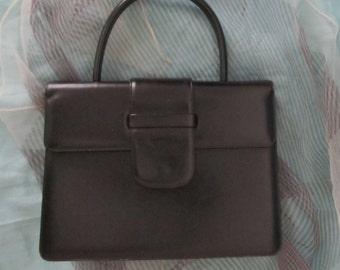 Vintage Frame Purse Handbag, Black Leather, Susan Gail, Kelly Bag 50s 60s