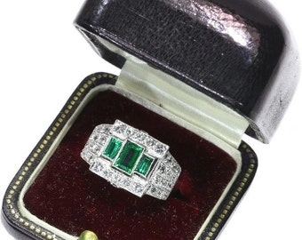 Colombian Emerald Ring Pair of Platinum Rings old European cut diamonds two rings