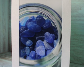 "Genuine Seaglass Greeting Card - Sea Glass Blank Card 5x7"" with 4x6"" Photo - Matted Photo to Frame"