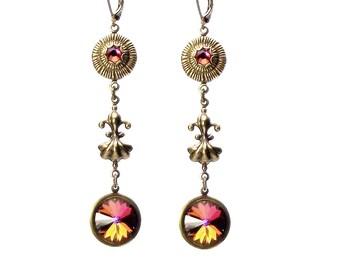 Fleur De Lis Crystal Drop Earrings-Volcano Swarovski Rivoli Crystal Drop Earrings, Victorian Earrings, Pierced Earrings