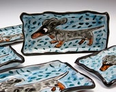 Ceramic Spoon Rest - Ceramic Tray -  Black Tan Dapple Dachshund - Wiener Dog - Pottery Tray Small - Majolica - Blue Sushi Tray - Butter Dish