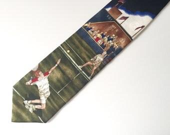 Mens Necktie - Tennis Gifts for Men - Mens Tie - Vintage Necktie - Tennis Player Tie Men - Tennis Gift - Tennis Ball Tennis Racket
