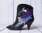 vintage 80s black leather ankle boots | parrot motif