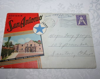 Vintage Postcard Pack 1944 Foldout Postcard Packet of San Antonio, Texas