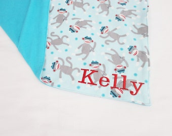 Custom Embroidered Sock Monkey Flannel Baby Blanket - Teal or Red backing