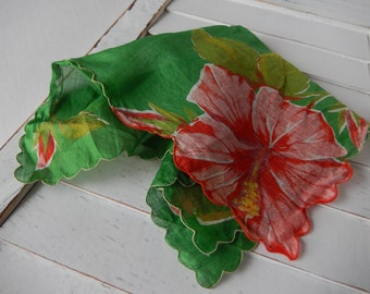 Handkerchief Ladies Vintage Hibiscus Hanky Chic Shabby, Home Decor, Perch and Patina