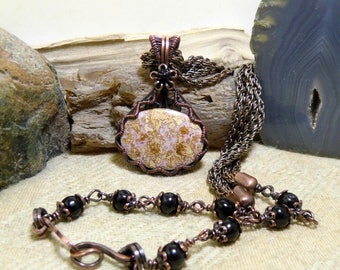 Wire Wrapped Antique Copper Stone Necklace Calico Lace Agate