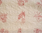 RESERVED for CAROL - Antique Redwork Quilt - Entirely Hand Embroidered & Quilted, Turkey Red, Penny Squares, Antique Linens, Antique Quilts