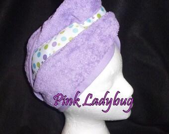 Hair Wash Turban - Lavender with Polka Dot Ribbon Trim - Ready to Ship