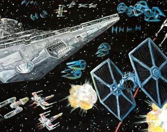 Star Wars Space Battle Acrylic Painting