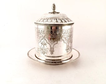 Silver Biscuit Jar / Silver Plated Cookie Jar with Hinged lid / Farmhouse French decor