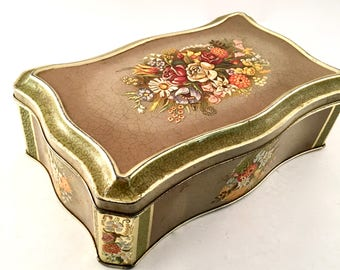 Vintage Floral Tin container made in Holland