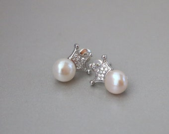 Freshwater White Button Pearl with White Gold Vermeil CZ Crown Stud Earrings Pearl Earrings, June Birthstone