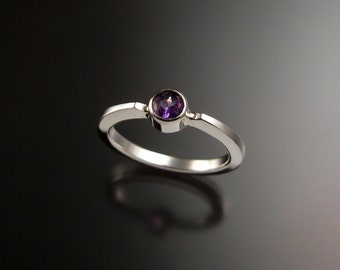 Amethyst stackable ring Sterling Silver ring made to order in your size