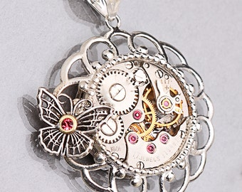 Sterling Silver Butterfly Steampunk Necklace Steampunk Silver Butterfly Necklace