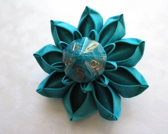 Obviously Teal Dice Flower Hair Clip