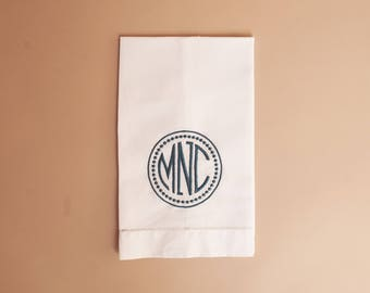 White Hemstitched Linen Guest Towel with Standard Monogram