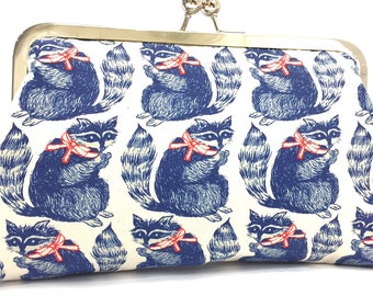 clutch purse -  racoon - red  - dark navy blue - 8 inch metal frame clutch purse - large purse - kisslock - coin purse - clutch bag