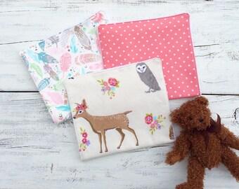 Deer, Fox, Owl Burp Cloths, Woodland Animals Burp Cloth Set, Baby Girl Baby Shower Gift, Burp Cloth, Flannel Burp Cloth Polka dot burp cloth