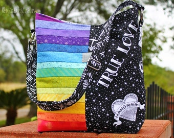Design your own custom made Patchwork Rainbow Compass Tote Bag