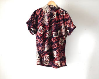 point break SURF print 80s 90s HAWAIIAN cotton short sleeve shirt