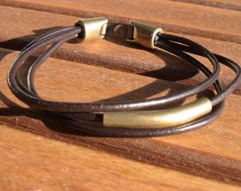 men's leather bracelet, men's brass bracelet, Black leather bracelet, leather bronze bracelet, Men's Jewelry, bracelets for him, men gift