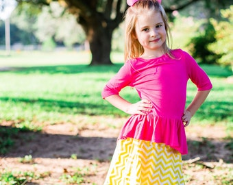 Girls Classic Circle Skirt /  Yellow and White Chevron Circle Skirt