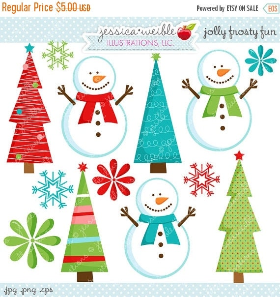ON SALE Jolly Frosty Fun Cute Digital Clipart - Commecial Use OK - Snowman Clipart, Christmas Graphics, Snowman Graphics, Digital Art