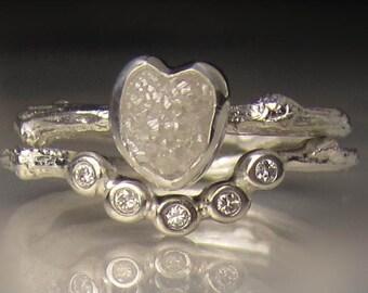 Heart Shaped Raw Diamond Engagement Ring, Rough Diamond Wedding Set, White Uncut Diamond Twig Ring
