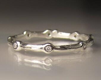 Diamond Eternity Wedding Band, Diamond Eternity Twig Wedding Band in Sterling Silver, Diamond Branch Wedding Band