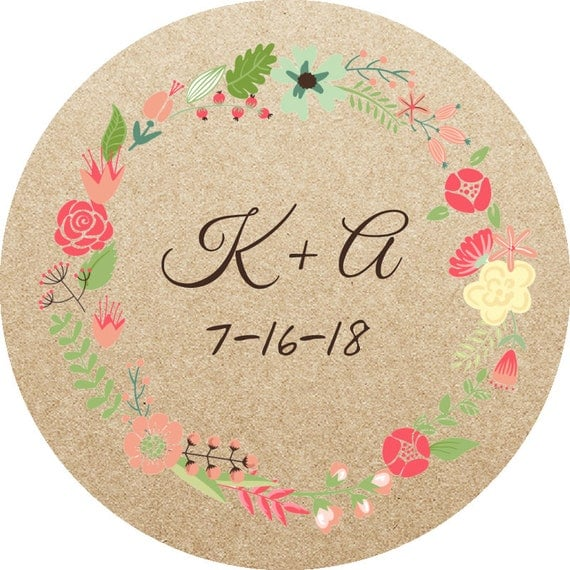 Kraft Circle Labels-2.5 in- Set of 12 -Wedding Stickers, Planners, Scrap booking, Invitations, Packaging, Party Favors, logo