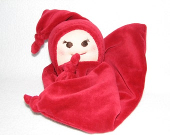 Blanket Baby Doll - Security Blanket Doll in Christmas Red velour RTG