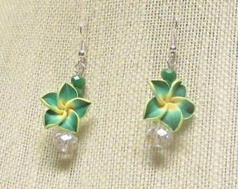 Green and Yellow Plumeria Flower Earrings
