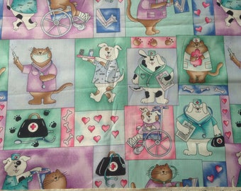Veterinarian Dogs Cats Vet Cotton Quilting Fabric