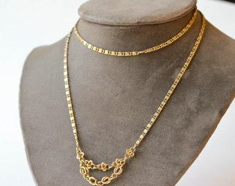 Greek Key Chain Vintage Long Chain Necklace