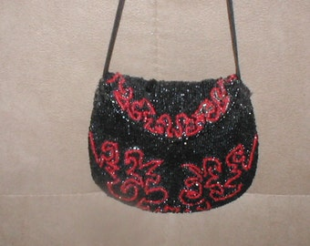 Antique 1920's red & black Beaded Purse