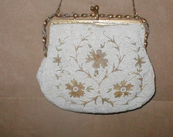 Antique Beige & White Beaded Evening Purse made in France