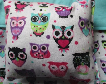 "18"" doll bedding, owl blanket and pillow for 18 inch dolls"