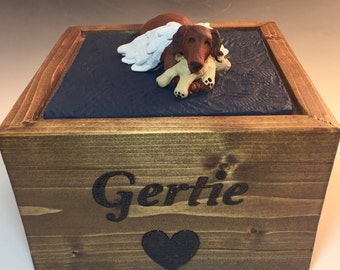 Custom Pet Urns- With a wooden bottom and custom sculpture on top, for large dogs, multiple cats or multiple small pet, 100% custom, pet urn