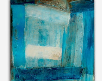 Blue Abstract Mixed media Paintings Wall Art on Canvas