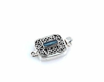 ANTIQUE ROMAN GLASS sterling Silver Clasp Azure