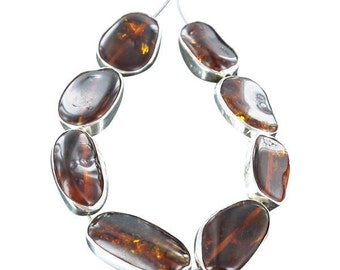 Sterling Silver Rimmed  AMBER BEADS LARGE 8Pcs NewWorldGems